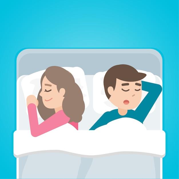 Pareja joven hombre y mujer durmiendo en la cama juntos Vector Premium