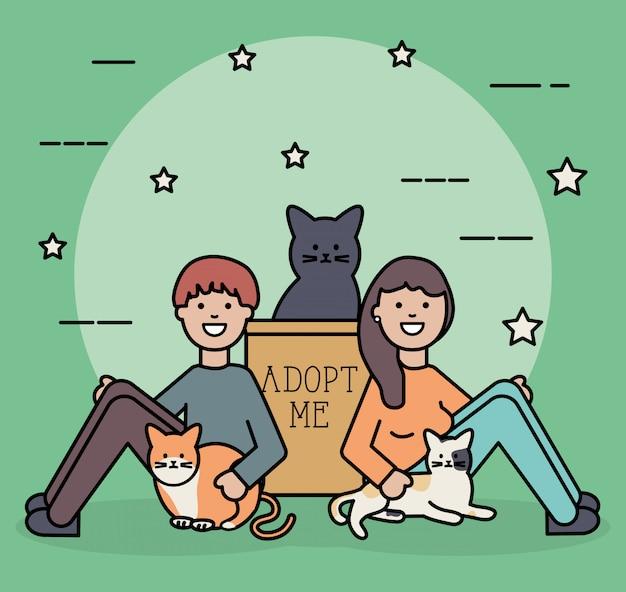 Pareja joven con lindas mascotas de gatos. vector gratuito