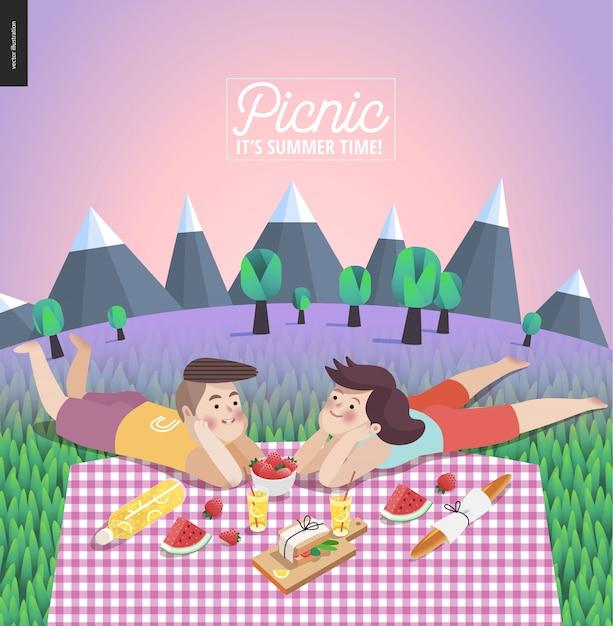 Pareja joven en plantilla de picnic Vector Premium