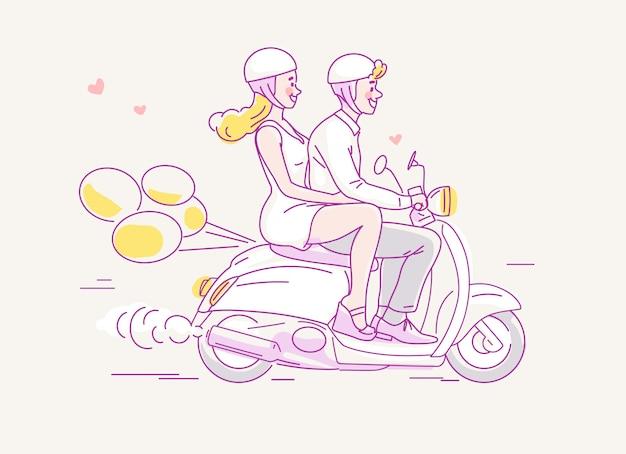 Pareja joven viajando en moto con globos detrás. Vector Premium