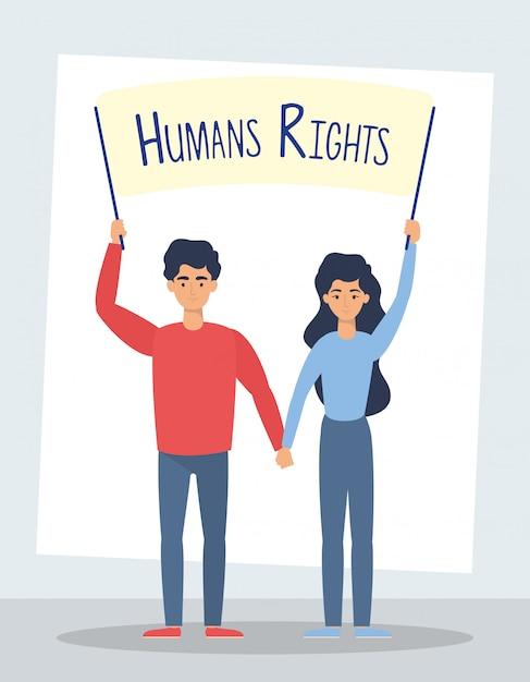 Pareja de jóvenes amantes con diseño de ilustración de vector de etiqueta de derechos humanos vector gratuito