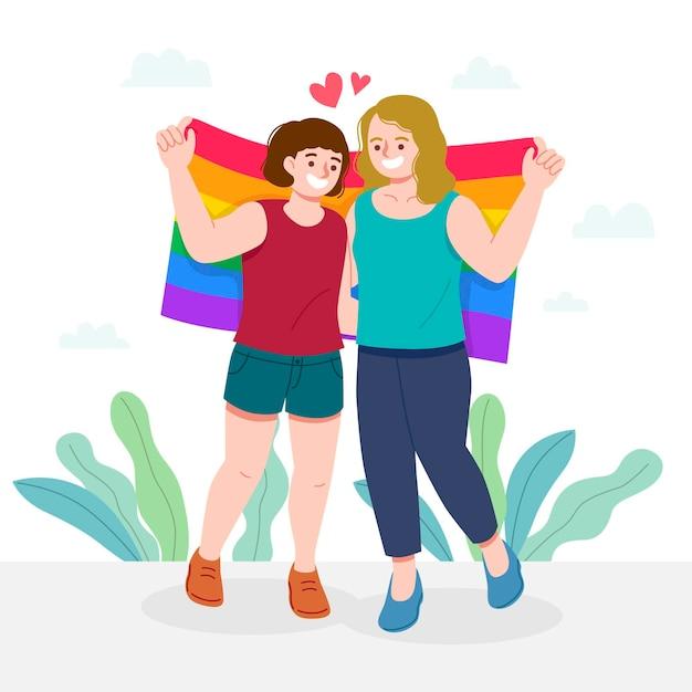 Pareja de lesbianas con bandera lgbt ilustrada vector gratuito