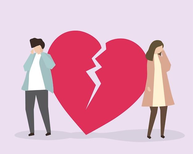 Una pareja llorando debido a un corazón roto ilustración