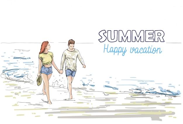 Pareja mantener las manos caminando playa hombre y mujer vacaciones bosquejo en vacaciones mar Vector Premium