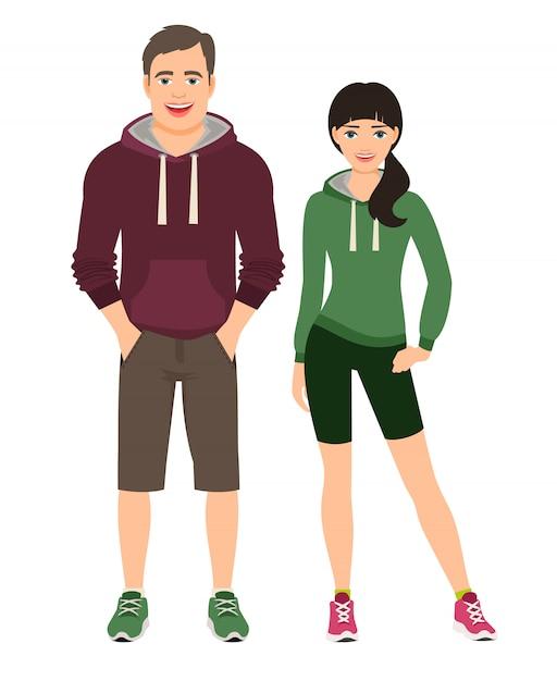 Pareja de moda en fitness o traje de correr. hombre y mujer en pantalones cortos y sudadera con capucha, ilustración vectorial Vector Premium