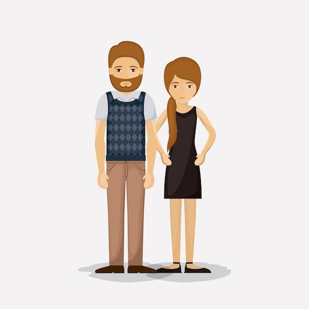 Pareja De Mujer Y Hombre Icono De Dibujos Animados
