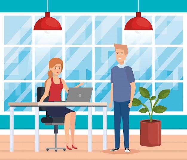 Pareja de negocios en el lugar de trabajo vector gratuito