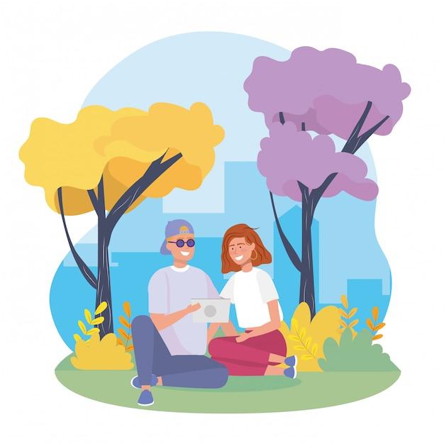 Pareja de niña y niño con arbustos plantas y árboles vector gratuito