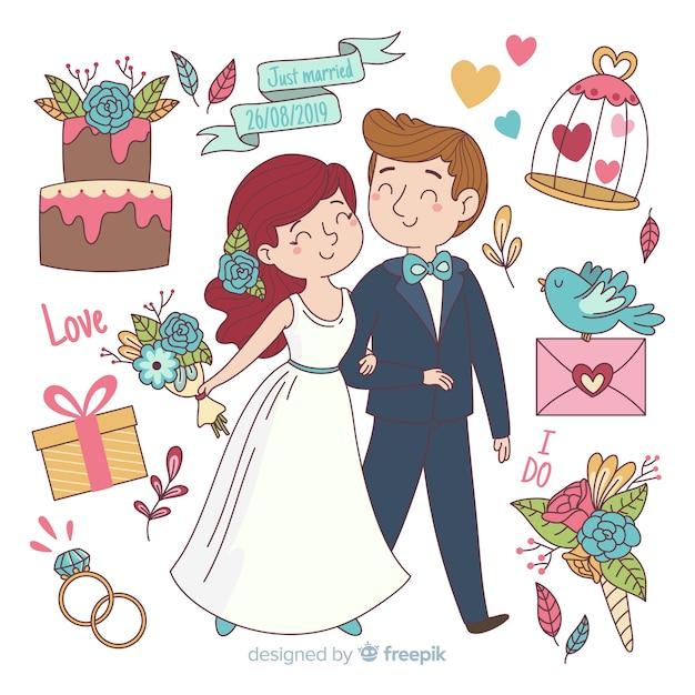 Pareja de novios de boda con adornos dibujado a mano vector gratuito