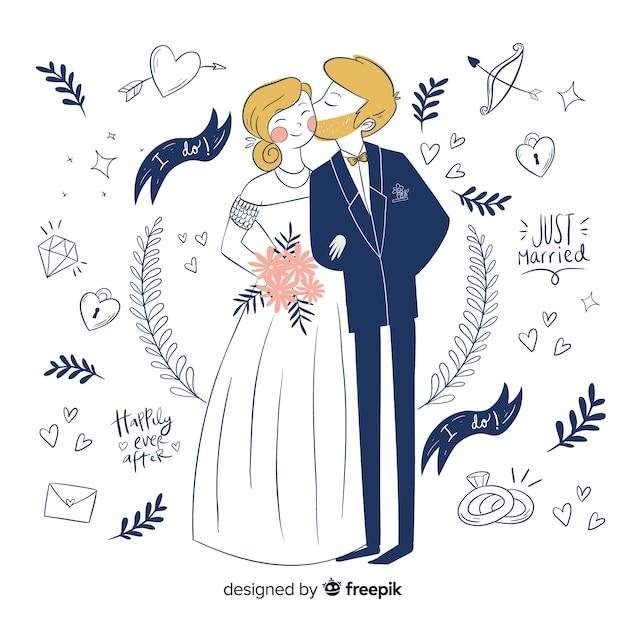 Pareja de novios de boda con adornos dibujados a mano vector gratuito