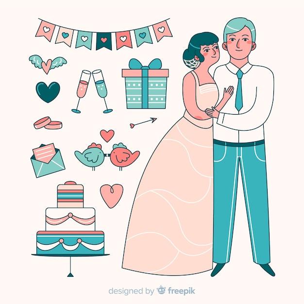 Pareja de novios de boda dibujados a mano con elementos vector gratuito