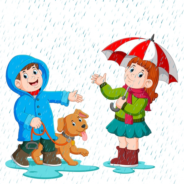 Una pareja bajo un paraguas caminando bajo la lluvia Vector Premium
