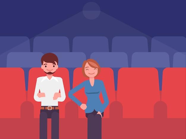 La pareja que está viendo en el cine. Vector Premium