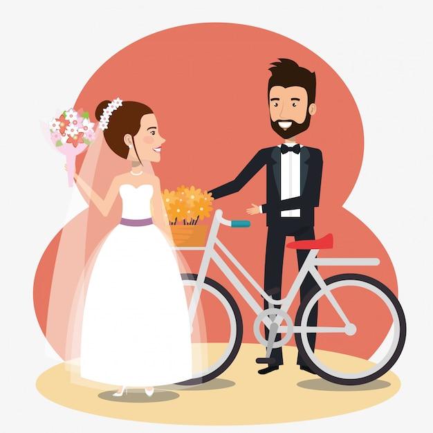 Pareja de recién casados en bicicleta avatares personajes vector gratuito