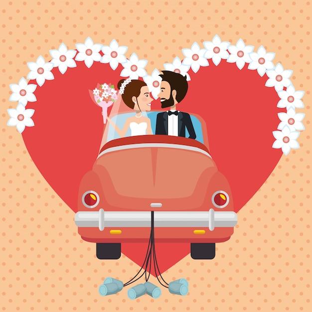 Pareja de recién casados con personajes de avatares de automóviles vector gratuito