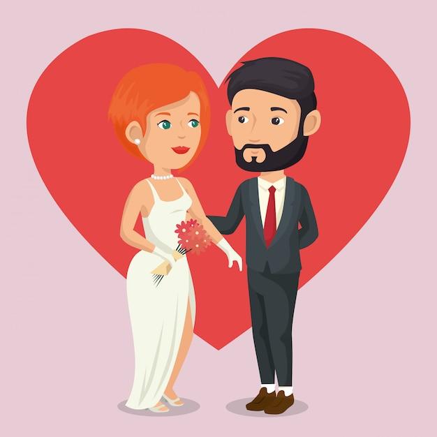 Pareja de recién casados con personajes de avatares de corazones vector gratuito