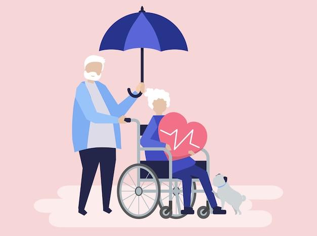Pareja senior con iconos relacionados con el seguro de salud vector gratuito