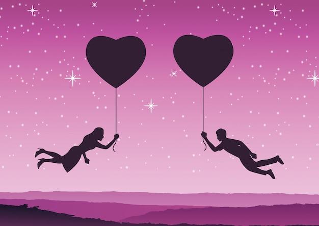 Pareja sostiene el globo en forma de corazón y vuela acercarse juntos Vector Premium