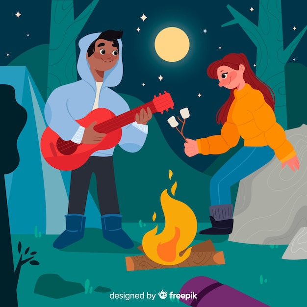 Pareja tocando la guitarra en una noche de luna llena vector gratuito