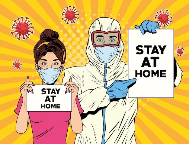 Pareja con traje de bioseguridad y quedarse en casa etiqueta covid19 pandemia Vector Premium