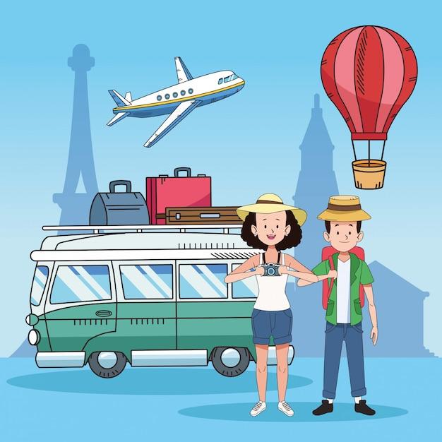 Pareja de turistas con lugares famosos y furgoneta Vector Premium