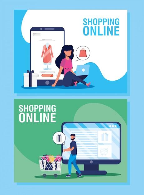 Pareja usando compras de tecnología en línea en dasktop y teléfono inteligente Vector Premium