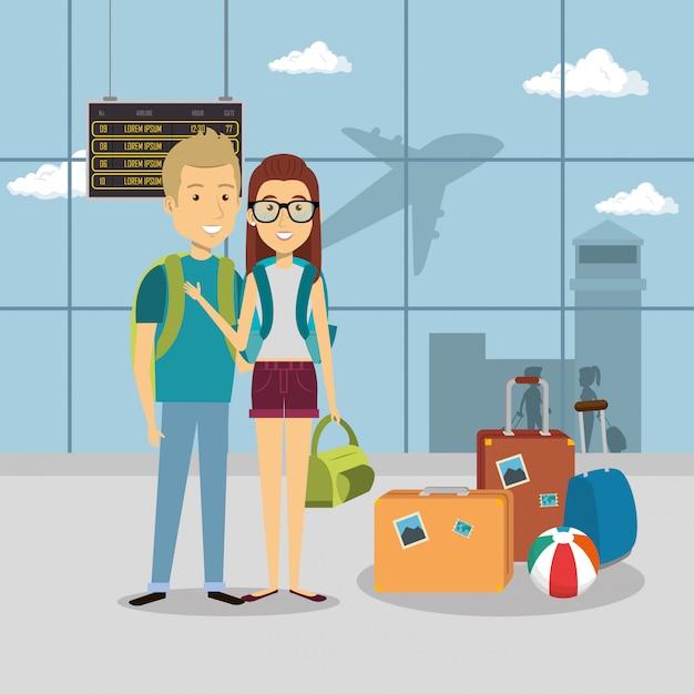 Pareja de viajeros en el aeropuerto personajes vector gratuito