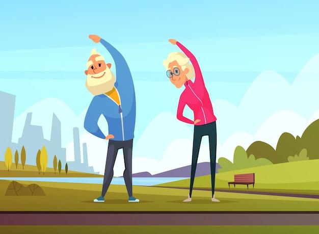 Las parejas de ancianos hacen algunos ejercicios deportivos en el jardín público. Vector Premium