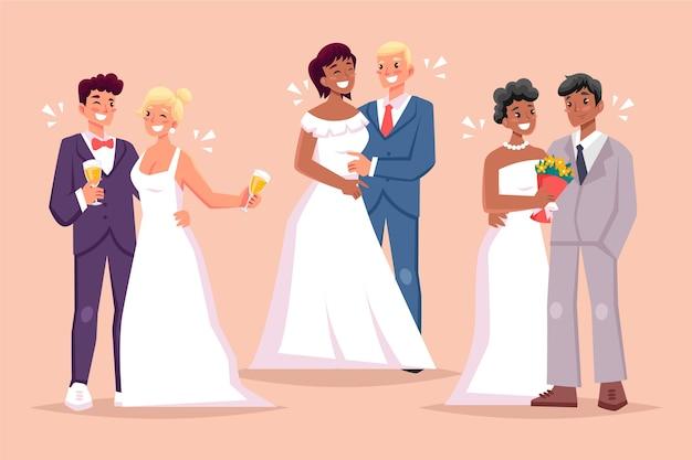 Parejas de boda en diseño plano vector gratuito