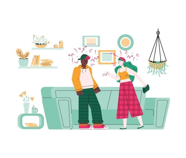 Ð¡parejas y conflictos familiares, ilustración de dibujos animados Vector Premium