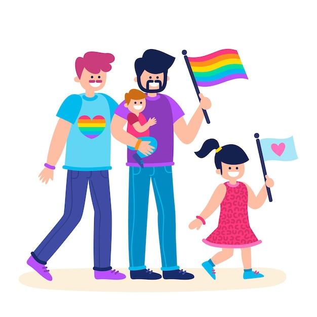 Parejas y familias celebrando el día del orgullo juntos vector gratuito