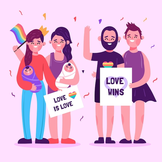 Parejas y familias celebrando el día del orgullo vector gratuito