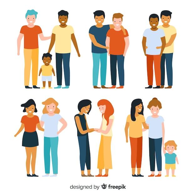 Parejas y familias del día del orgullo lgbt vector gratuito