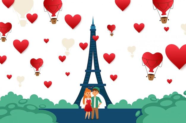 Pares jovenes que viajan en la ilustración de parís, europa. carácter chico y chica de pie en el centro de la ciudad de amor cerca de la torre eiffel Vector Premium