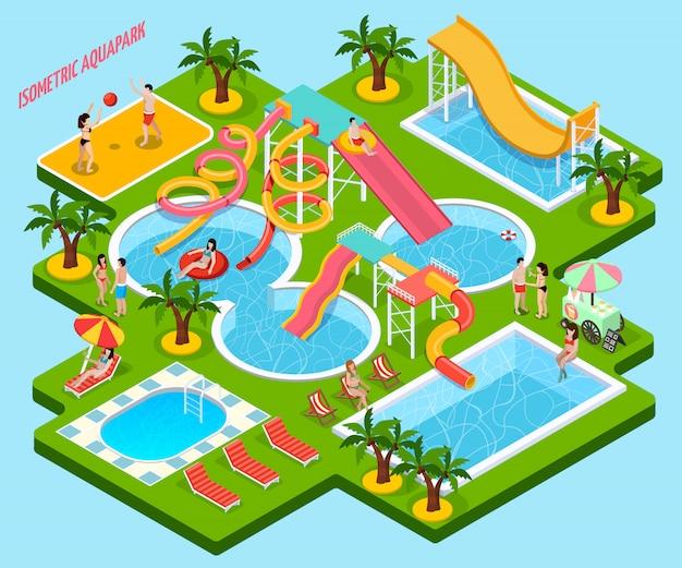 Parque acuático aquapark composición isométrica vector gratuito