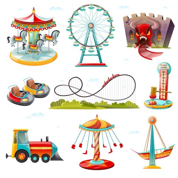 Parque de atracciones atracciones iconos planos establecidos vector gratuito