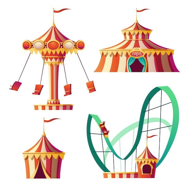 Parque de atracciones, carnaval o feria festiva de dibujos animados vector gratuito