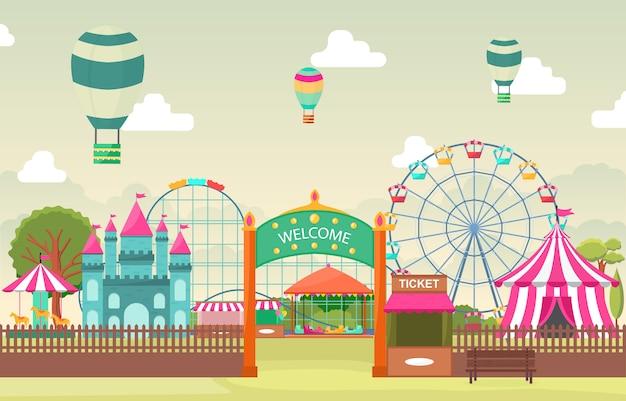 Parque de atracciones circo carnaval festival diversión feria paisaje ilustración Vector Premium