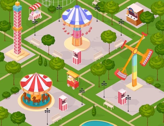 Parque de atracciones de verano para niños vector gratuito