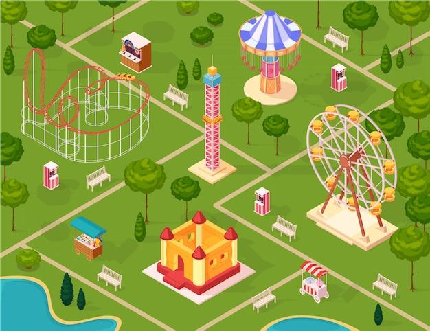 Parque de atracciones vector gratuito