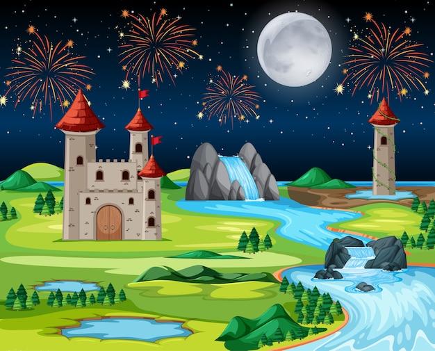Parque del castillo de noche temática con fuego artificial y escena de paisaje de globos vector gratuito