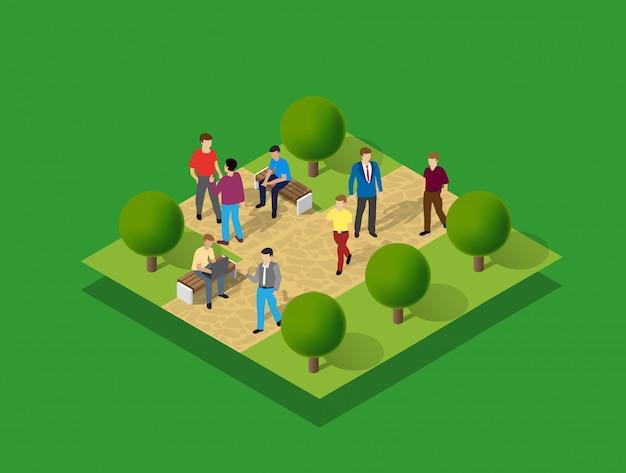 Parque de la ciudad con gente y arboles. Vector Premium