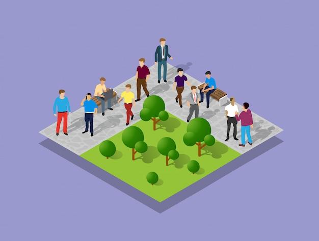 Parque de la ciudad con la gente Vector Premium