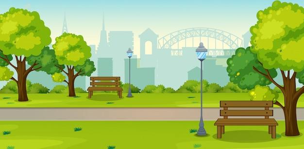 Un parque en ciudad urbana. Vector Premium
