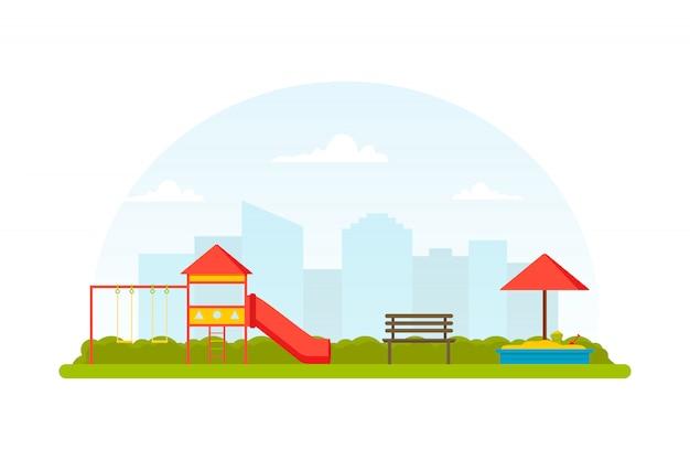Parque infantil. lugar para juegos infantiles al aire libre. parque con banco, columpios, tobogán y arenero. vista a la ciudad. plano , Vector Premium