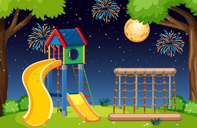 Parque infantil en el parque con luna grande y fuegos artificiales en el cielo por la noche estilo de dibujos animados vector gratuito