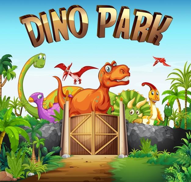 Parque lleno de dinosaurios. vector gratuito