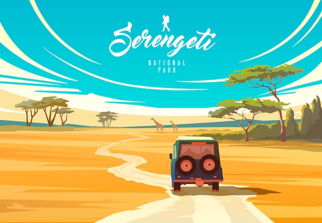 El parque nacional de serengeti. naturaleza de tanzania. sabana. Vector Premium