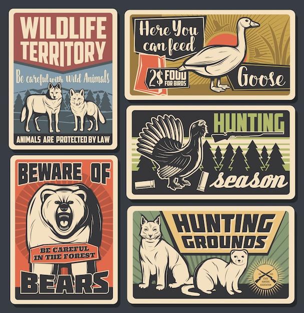 Parque natural de animales salvajes, temporada de caza de aves silvestres Vector Premium