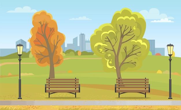 Parque de otoño de la ciudad con bancos y farola Vector Premium